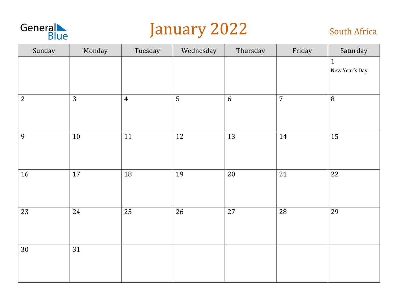 January 2022 Calendar - South Africa