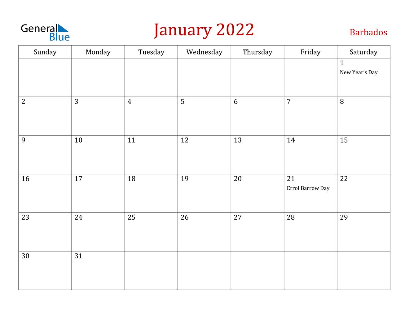 January 2022 Calendar - Barbados