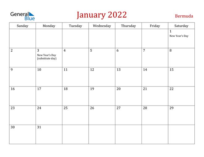 Bermuda January 2022 Calendar