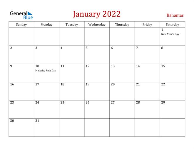 January 2022 Calendar - Bahamas