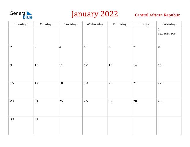 Central African Republic January 2022 Calendar