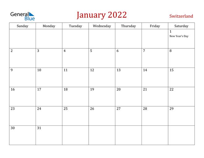Switzerland January 2022 Calendar
