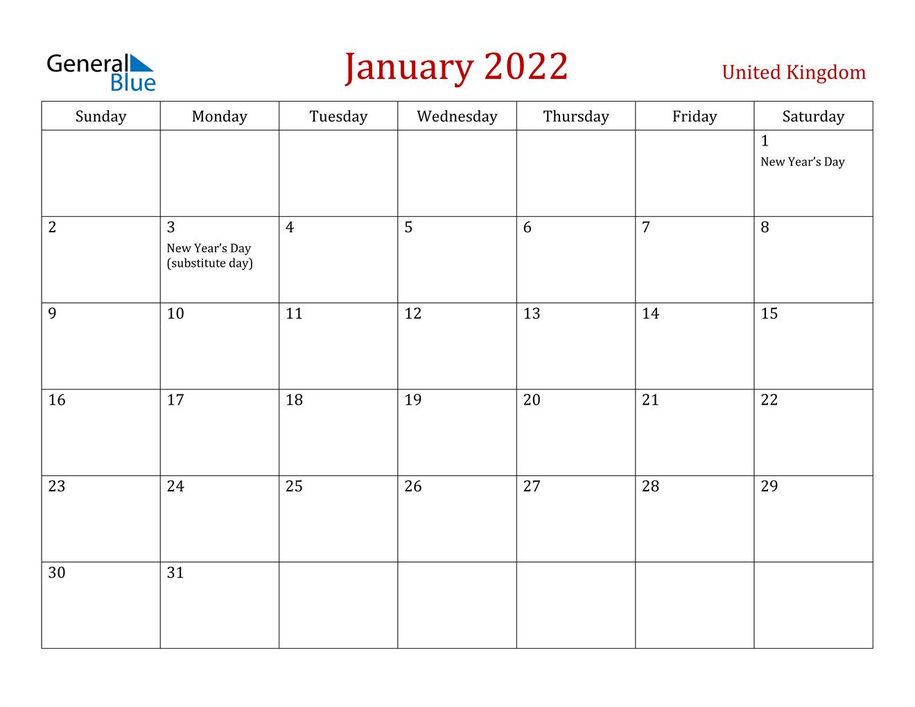 January 2022 Calendar - United Kingdom