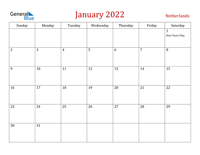 Image of January 2022 Dark and Red Professional Office Calendar Calendar