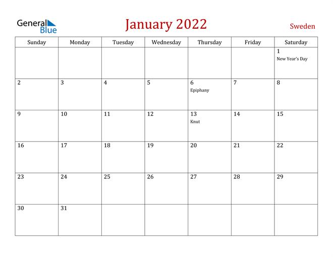 Sweden January 2022 Calendar