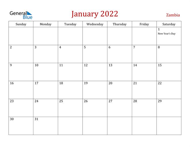 Zambia January 2022 Calendar