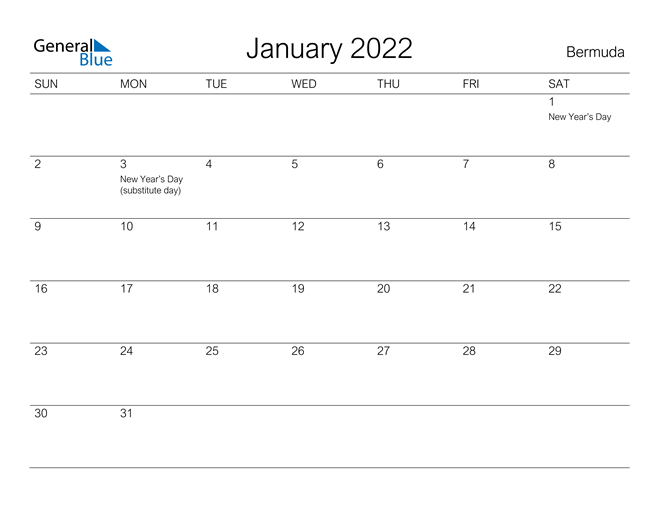 Printable January 2022 Calendar for Bermuda