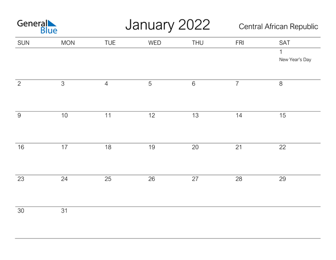 Printable January 2022 Calendar for Central African Republic