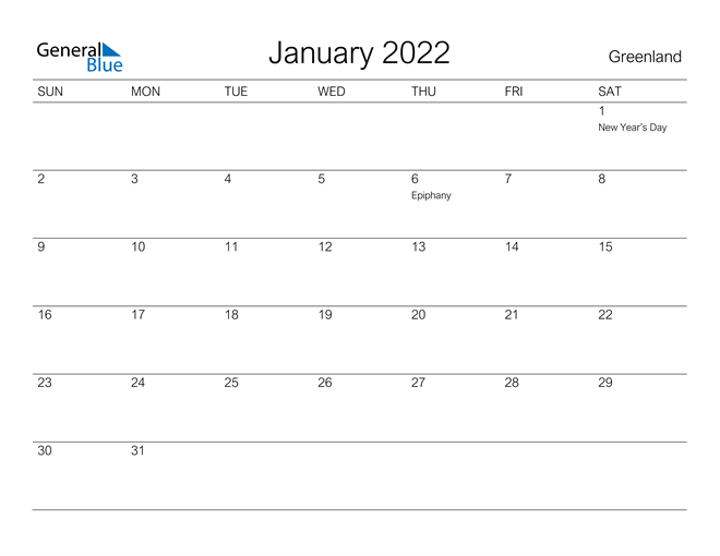 Image of January 2022 A Streamlined Design, The Perfect Printable Calendar. Calendar