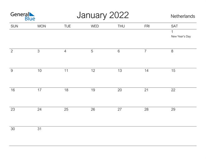 Image of January 2022 A Streamlined Design, The Perfect Printable Calendar. Calendar