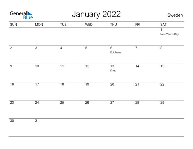 Printable January 2022 Calendar for Sweden