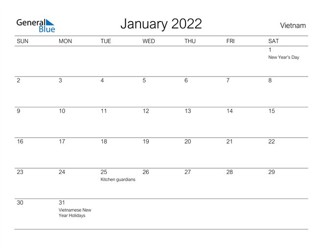 Vietnamese Calendar 2022.Vietnam January 2022 Calendar With Holidays