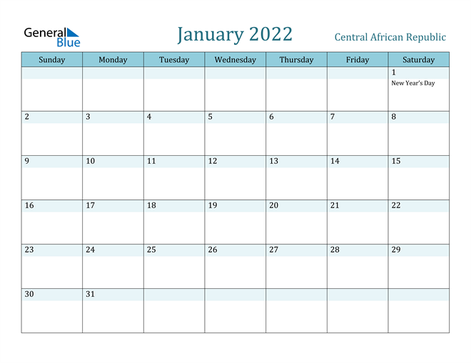 January 2022 Calendar with Holidays in PDF, Word, and Excel