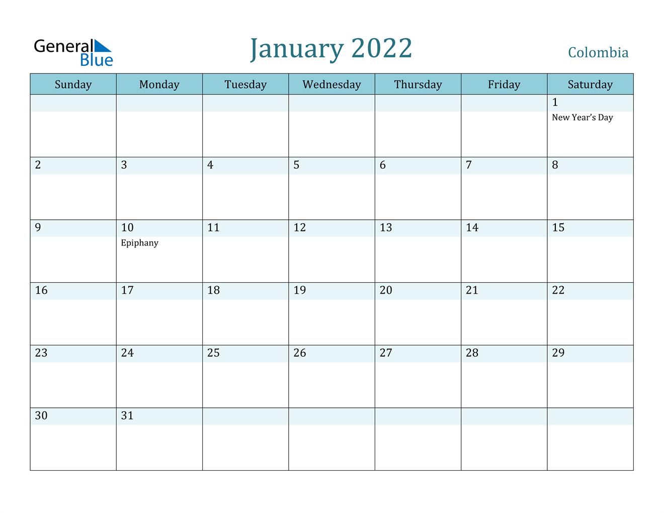 January 2022 Calendar - Colombia