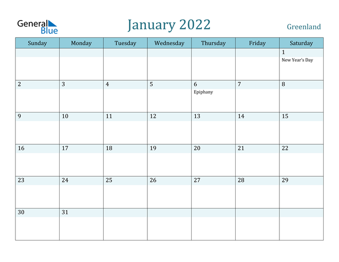 Image of January 2022 Colorful Turquoise Calendar in PDF, Word and Excel Calendar
