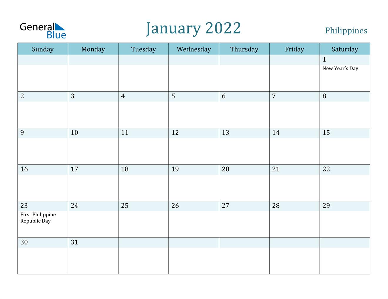 January 2022 Calendar - Philippines