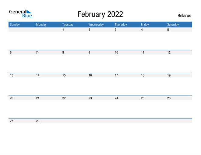 Fillable February 2022 Calendar