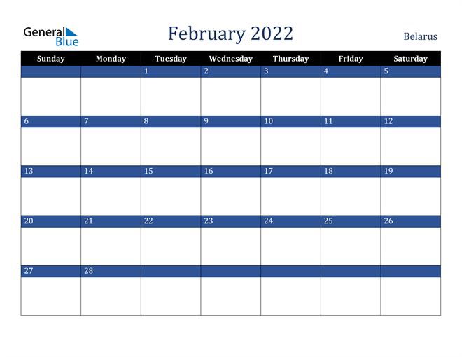 February 2022 Belarus Calendar