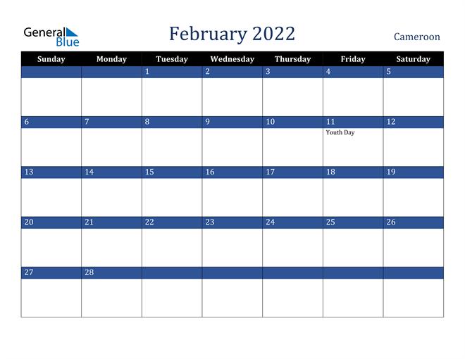 February 2022 Cameroon Calendar