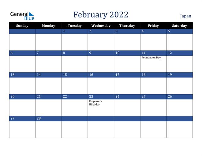 February 2022 Japan Calendar