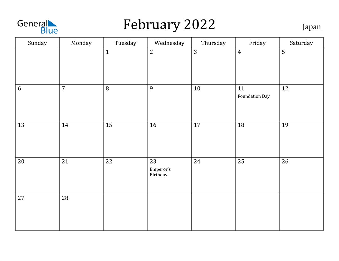 Calendar 2022 Feb.Japan February 2022 Calendar With Holidays