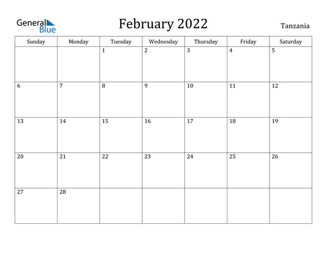 Image of February 2022 Tanzania Calendar with Holidays Calendar