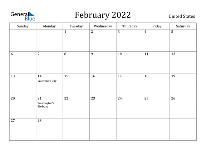 United States February 2022 Calendar With Holidays