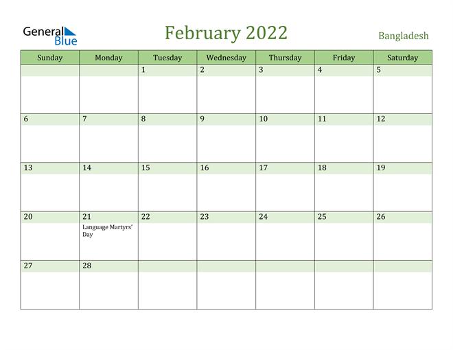 February 2022 Calendar with Bangladesh Holidays
