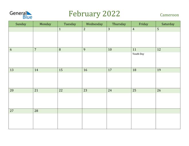 February 2022 Calendar with Cameroon Holidays