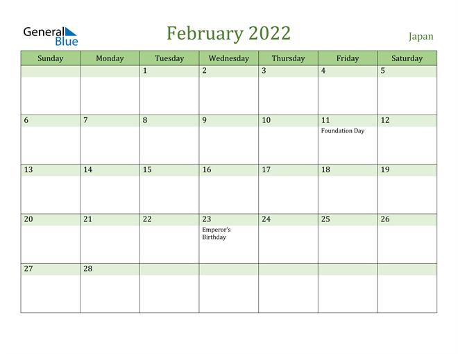 February 2022 Calendar with Japan Holidays