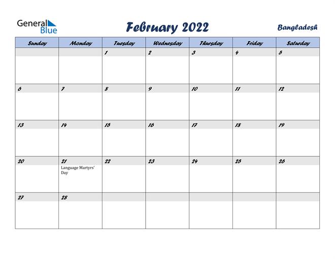 February 2022 Calendar with Holidays