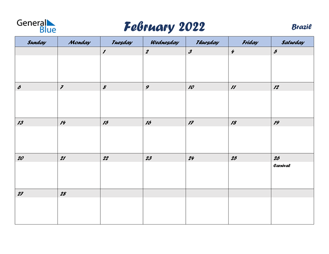 Image of February 2022 Italicized and Cool Blue, A Fun Calendar in PDF, Word and Excel Calendar