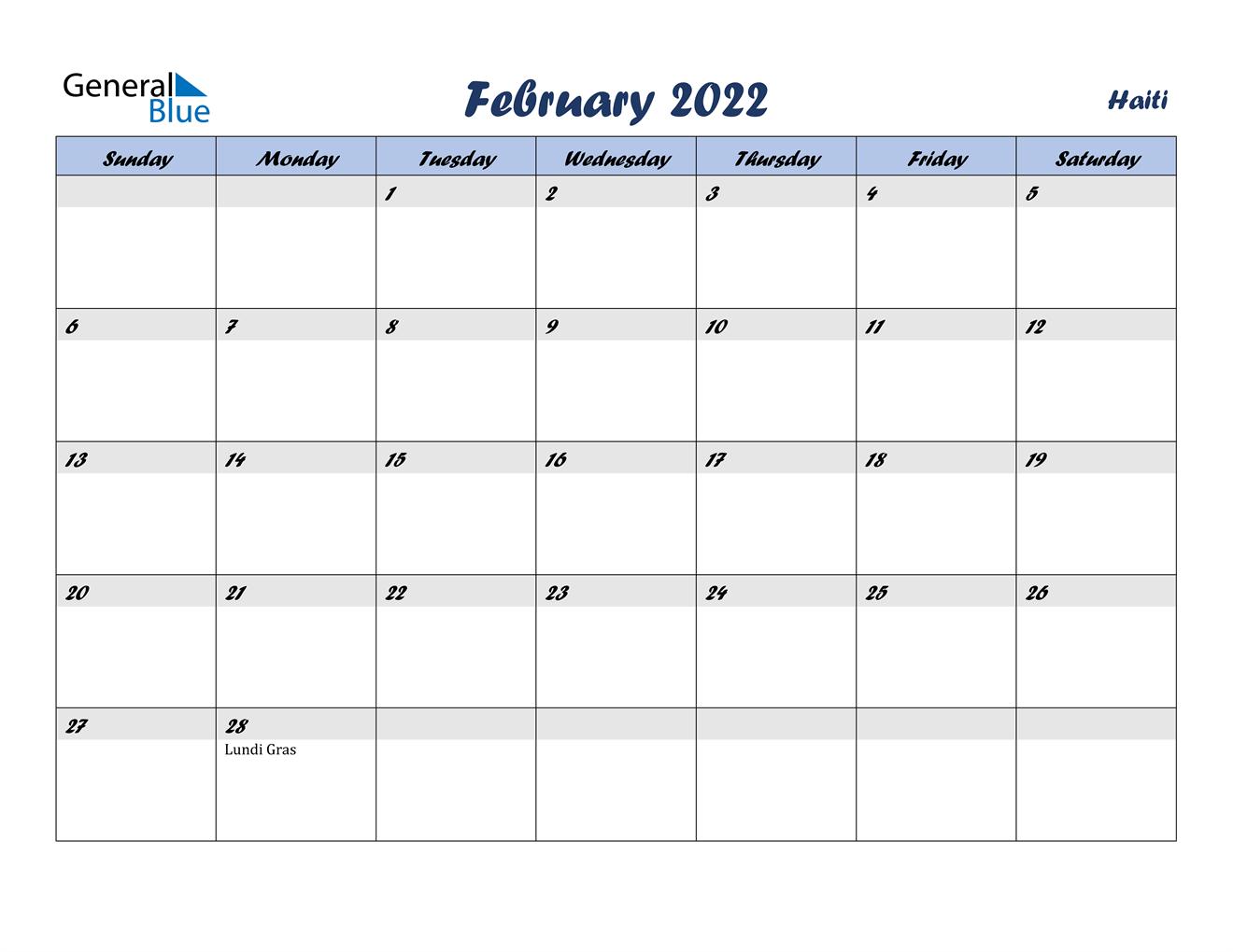 February 2022 Calendar - Haiti