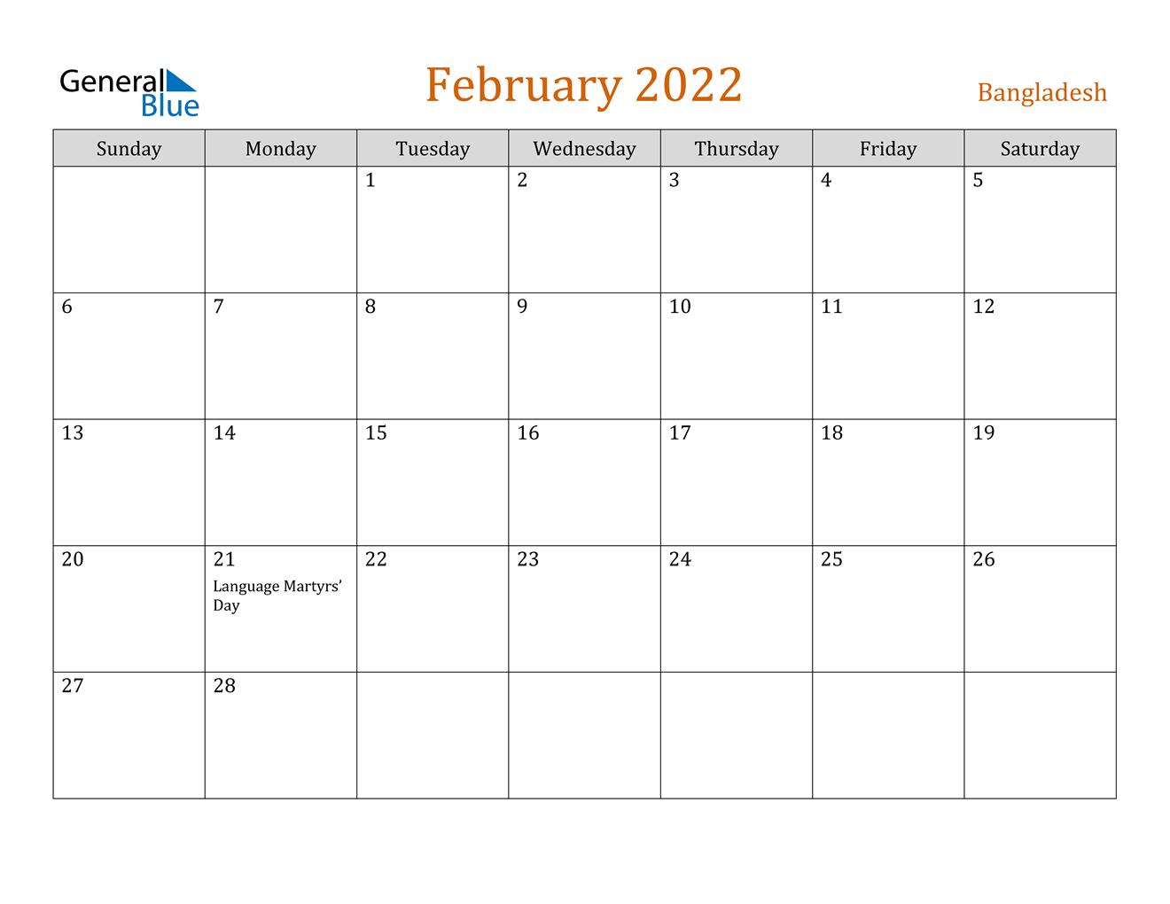February 2022 Calendar - Bangladesh