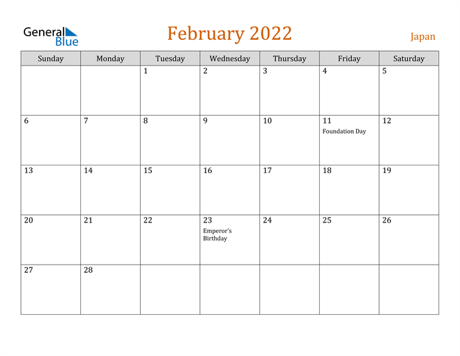February 2022 Holiday Calendar