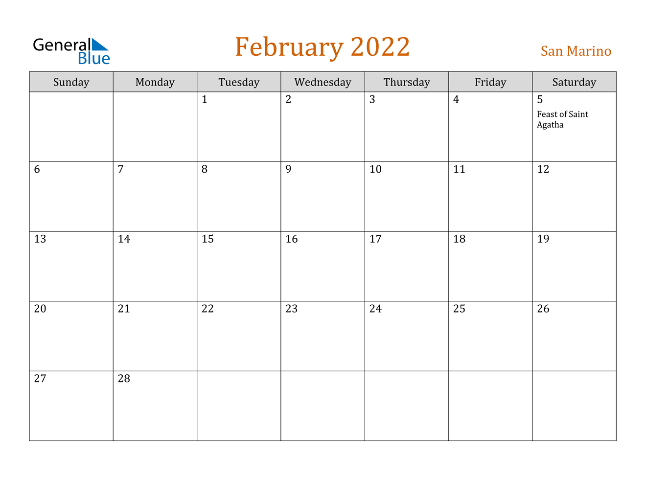 February 2022 Calendar - San Marino