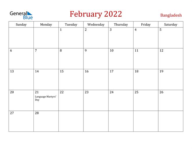 Bangladesh February 2022 Calendar