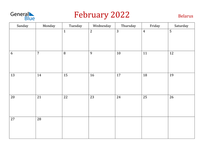 Belarus February 2022 Calendar