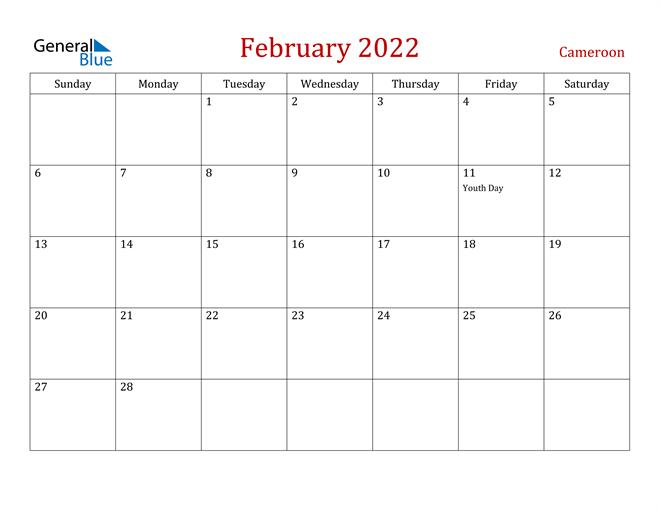 Cameroon February 2022 Calendar
