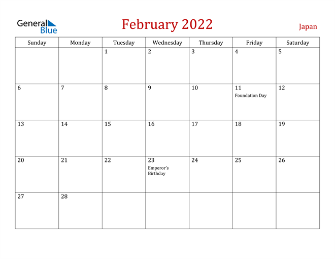Japan February 2022 Calendar
