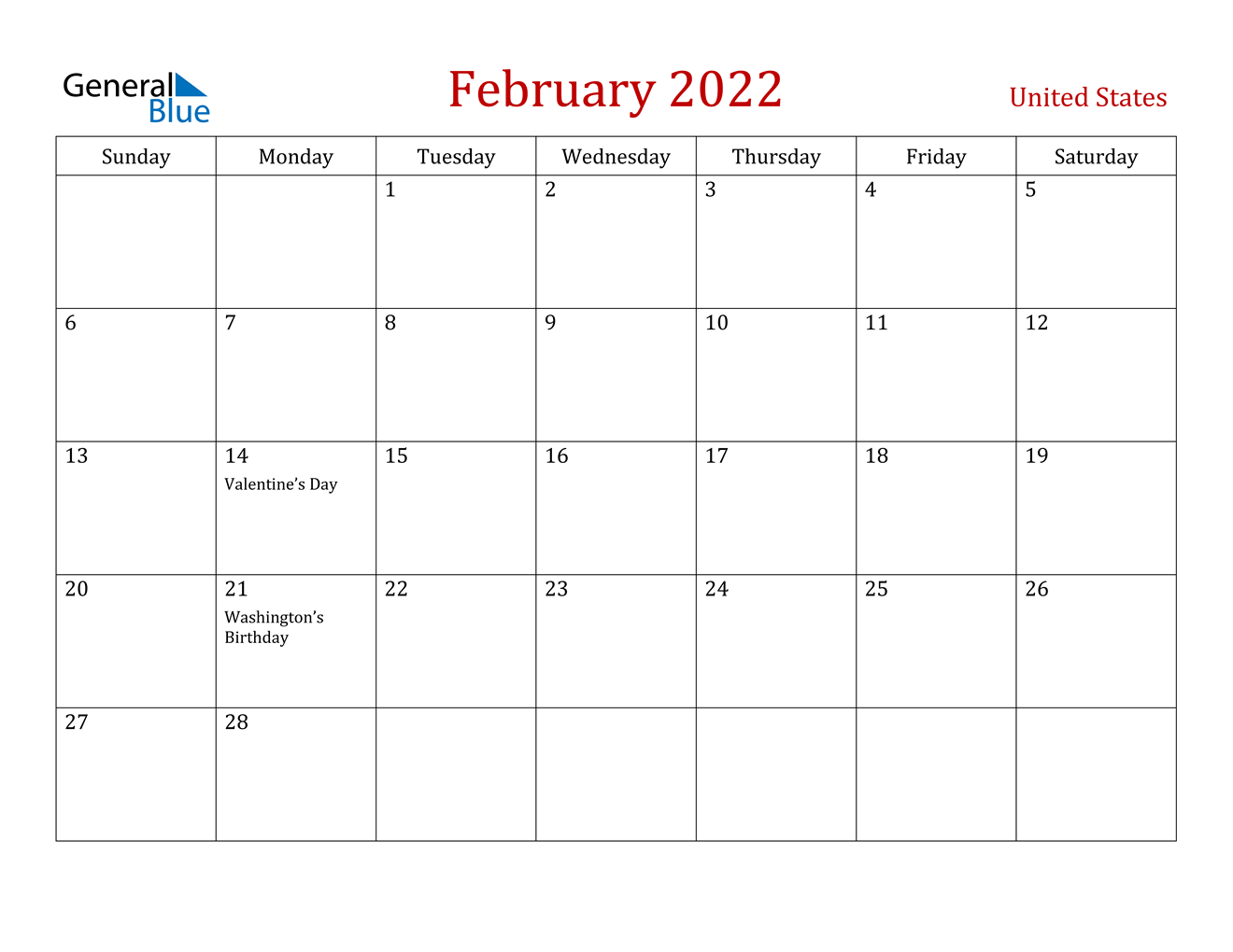 February 2022 Calendar - United States
