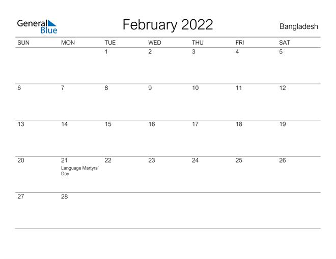 Printable February 2022 Calendar for Bangladesh