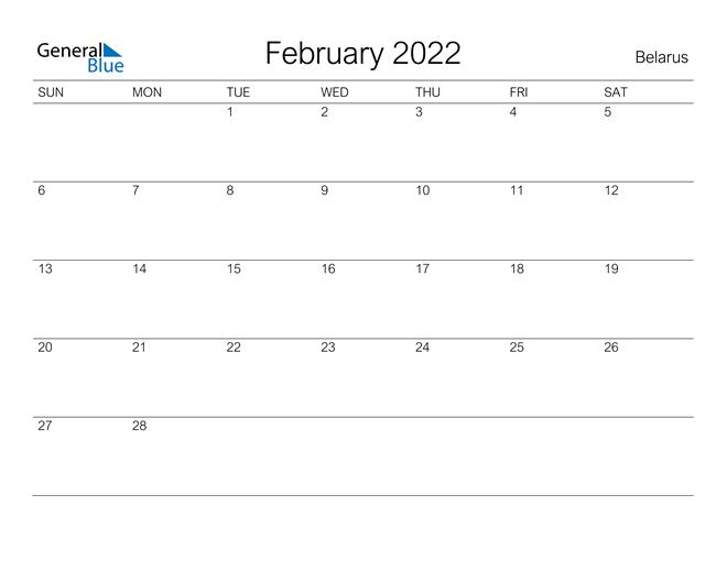 Printable February 2022 Calendar for Belarus