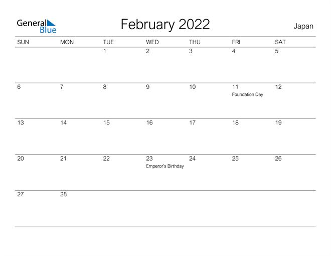 Printable February 2022 Calendar for Japan