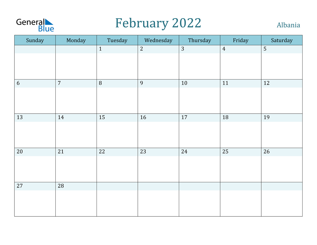 February 2022 Calendar - Albania