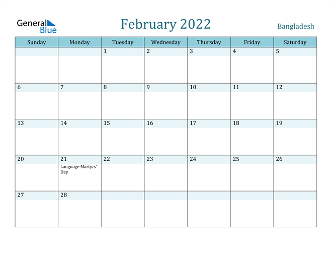 February 2022 Calendar with Holidays in PDF, Word, and Excel