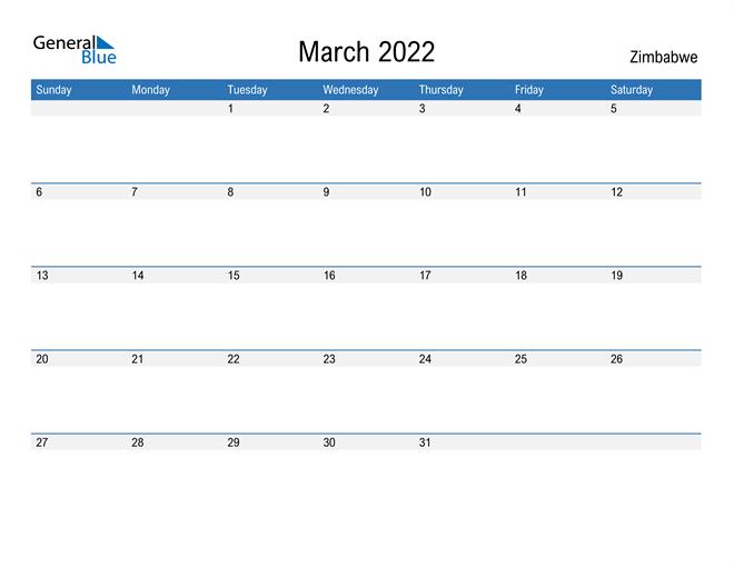 Fillable March 2022 Calendar