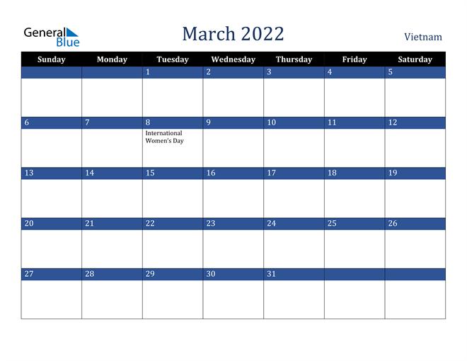 Image of March 2022 Stylish Dark Blue Calendar in PDF, Word and Excel Calendar