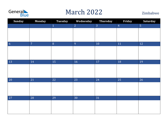 March 2022 Zimbabwe Calendar