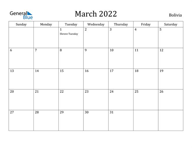 Image of March 2022 Bolivia Calendar with Holidays Calendar